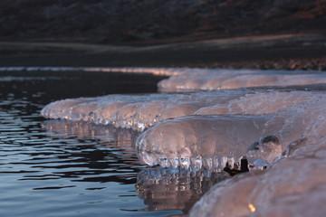 Panel Szklany Zima Winter am Wasser