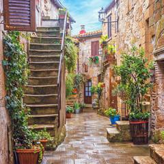 Fototapeta Toskania Alley in Italian old town, Tuscany, Italy