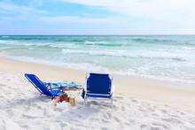 Deck Chairs On Tropical Beach In Destin, Florida