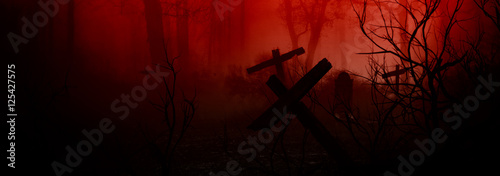 Dark Horror Forest gravestone background.
