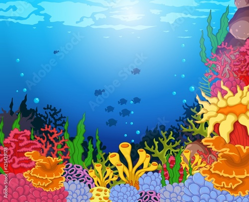 Tuinposter Vlinders beauty corals with underwater view background
