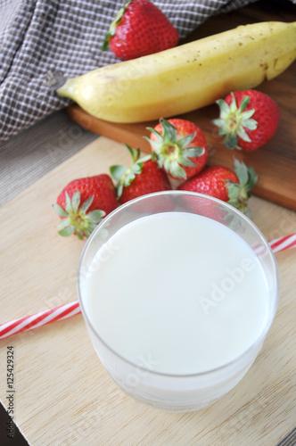 In de dag Verse groenten Top view of Glass of Milk with Fresh Fruits