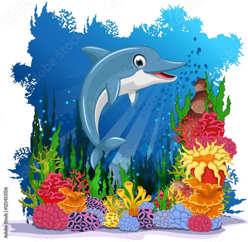 Recess Fitting Submarine funny dolphin with sea life background