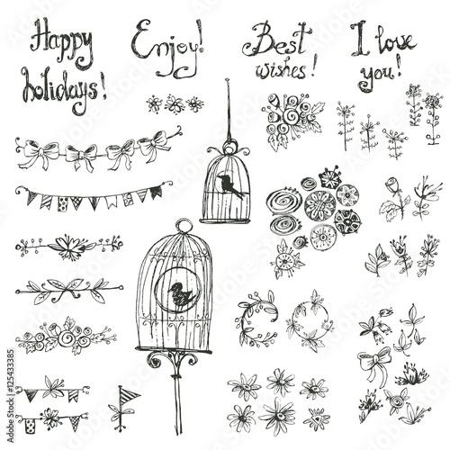 Poster de jardin Oiseaux en cage Doodle set of decoration: a bird in a cage, flowers, garlands, f