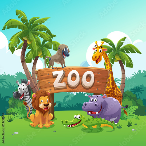 Fotografie, Obraz  Zoo and animals cartoon style