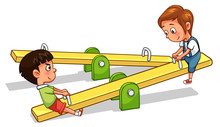 Kids Play Seesaw Cartoon Style