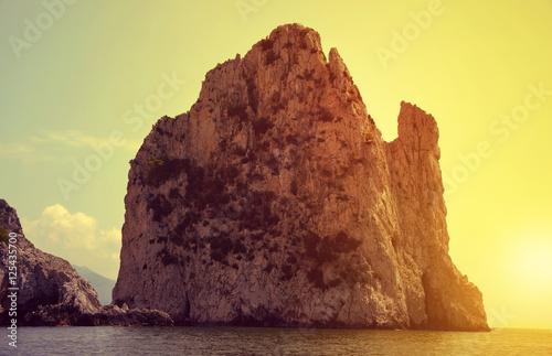 Fotobehang Zwavel geel Faraglioni Cliffs in island Capri - Italy, Europe