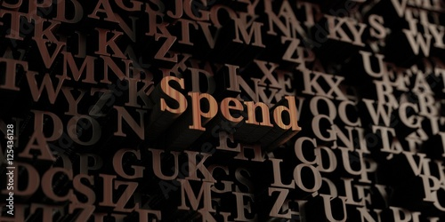 Valokuva  Spend - Wooden 3D rendered letters/message