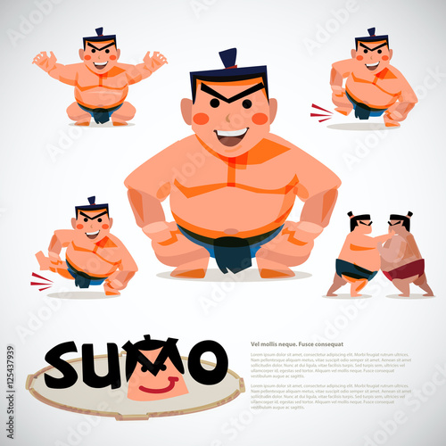 Láminas  Sumo wrestler in action set. character design, japanese  traditi