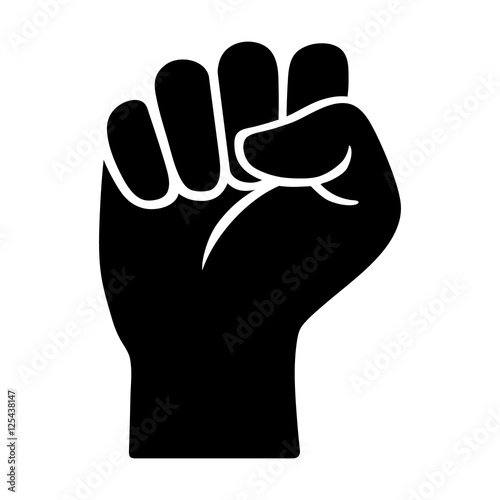 Canvastavla Raised fist - symbol of victory, strength, power and solidarity flat icon for ap