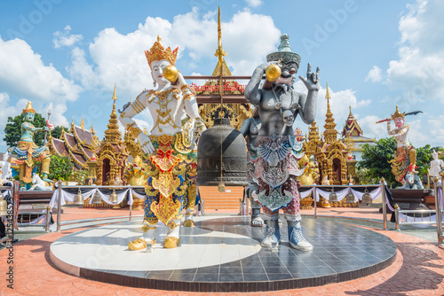 Wall Murals Temple Wat Sangkaew Phothiyan the beautiful modern temple in Chiangrai province of Thailand.