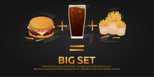 Lunch With French Fries, Burger And Soda Takeaway On Isolated Background. Big Set. Fast Food. Vector Illustration.