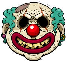 Vector Illustration Of Cartoon Clown Zombie Face