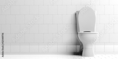 Fotografie, Obraz  Toilet bowl isolated on white background, copy space