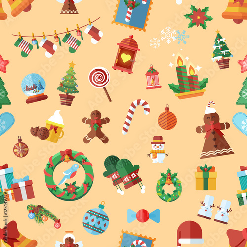 Cotton fabric Vector seamless pattern with Christmas accessories