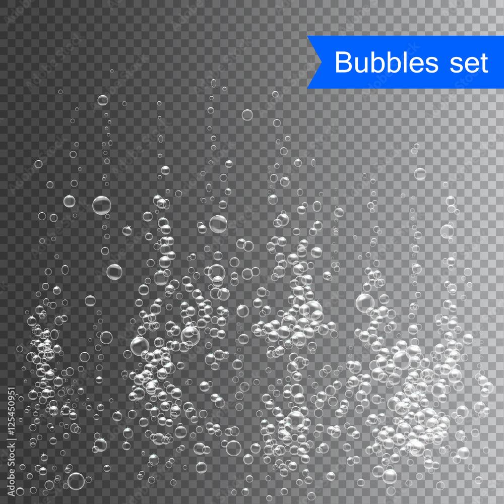 Fototapeta Bubbles under water vector illustration on transparent background