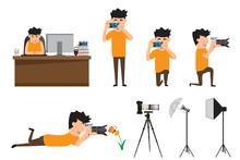 Set Of Cartoon Photographer In Various Pose. Professional Photog
