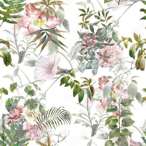 akwarela-kwiaty-w-odcieniach-rozu-i-zieleni-na-bialym-tle
