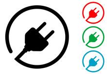Icono Plano Enchufe Con Cable Circular En Varios Colores
