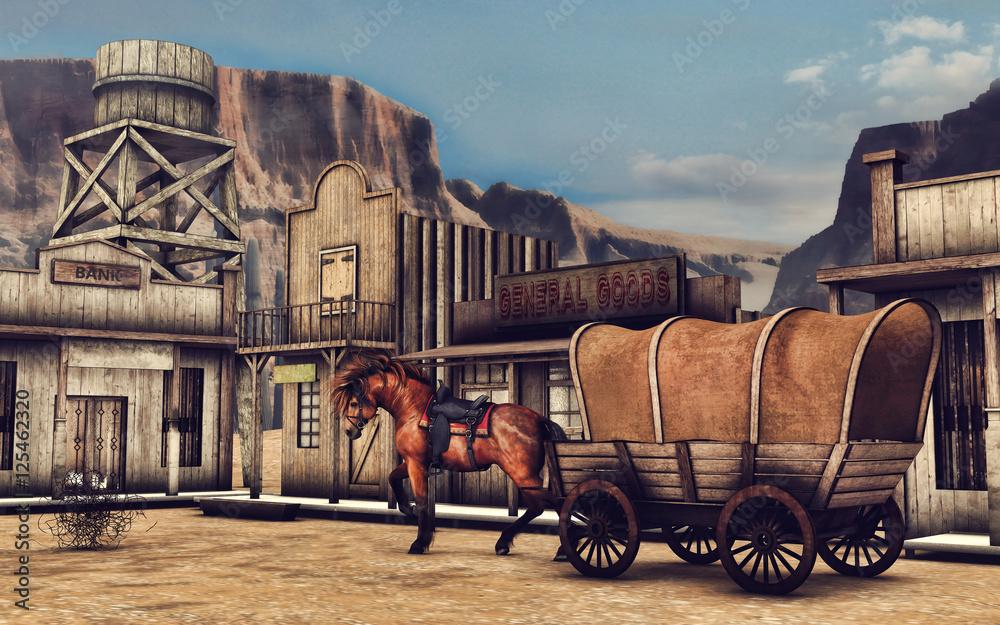 Fototapeta Ulica miasteczka na Dzikim Zachodzie z koniem i drewnianym wozem