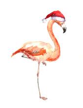Christmas Flamingo In Red Santa's Hat. Watercolor Bird