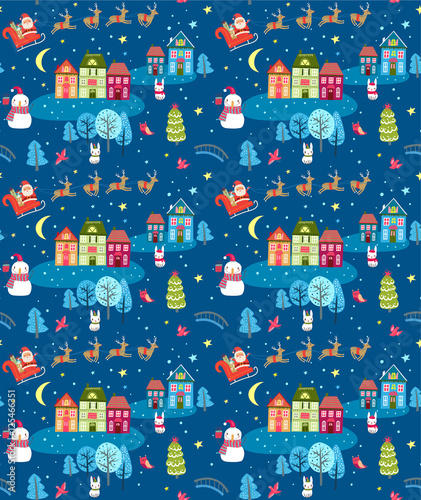 Cotton fabric Christmas seamless pattern with Santa and festive town