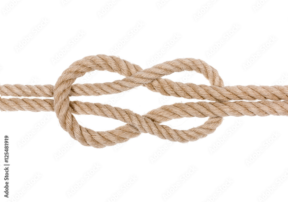 Fototapeta Nautical rope knot. Square knot isolated on white background.