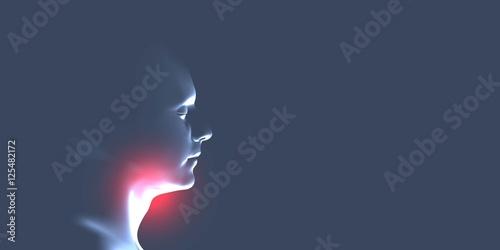 Fotografía Laryngitis vector illustration. Human throat irritation.