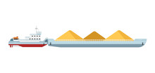 Tug Boat Moves Cargo Barge Isolated On White Background Vector Illustration. Freight Ship Side View. Commercial Vessel In Flat Design. Logistics And Transportation Design Element