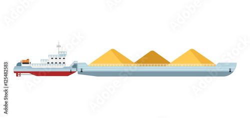 Tug boat moves cargo barge isolated on white background vector illustration Fototapet