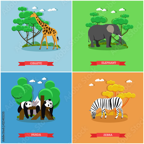 Zoo concept banner. Wildlife animals. Vector illustration in flat style design. Giraffe, Zebra, Elephant, Panda bear