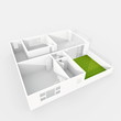 3d interior rendering of empty paper model home apartment with green balcony