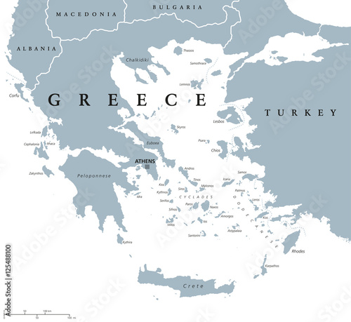 Greece political map with capital Athens, with most important peninsulas and islands, with national borders and neighbor countries Wallpaper Mural