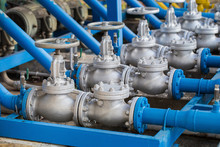 Valves At Gas Plant, Pressure Safety Valve Selective Focus.