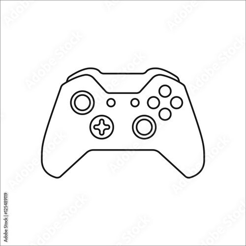 Game Controller Or Gamepad Symbol Line Icon On Background Buy This