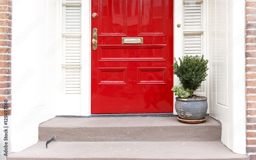 Fototapeta residence front entrance. sleek design. red door and potted plant on the stairs