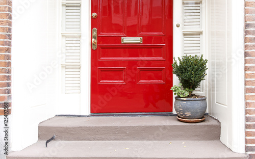 Fototapeta residence front entrance. sleek design. red door and potted plant on the stairs obraz