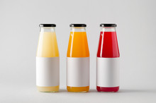 Juice Bottle Mock-Up - Three Bottles. Horizontal Label