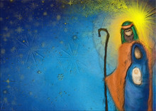 Christmas Religious Nativity Scene, Holy Family Abstract Artistic Watercolor Illustration Mary Joseph And Jesus In The Starry Night