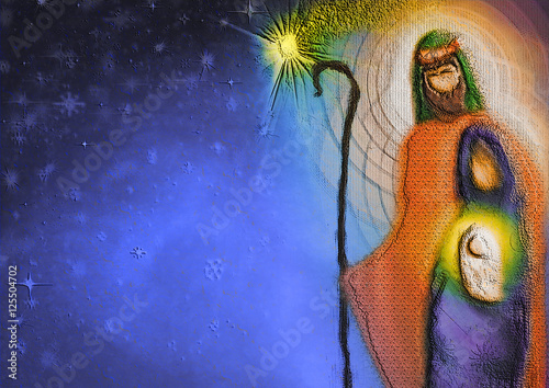 Fotografie, Obraz  Christmas religious nativity scene, Holy family abstract artistic watercolor ill