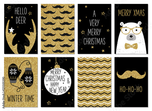 Christmas hipster greeting card templates. Gold glitter, black and white colors. Christmas and New Year gift tags. Golden deer antlers, mustache, polar bear, mittens, chevron. Holiday hipster style.