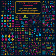 Vector Flat 8 Bit Icons, Colle...