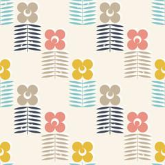Fototapeta Simple flowers and leaves pattern.