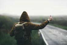 Hitchhiking In Autumn Mist