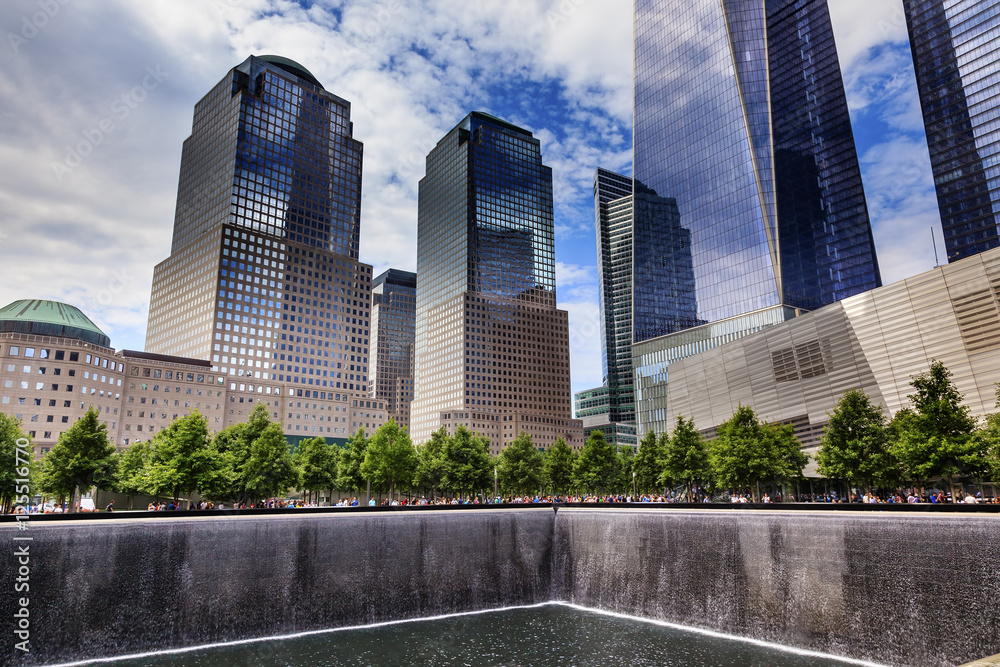 Fototapety, obrazy: World Trade Center Memorial Pool Fountain Waterfall Skyscrapers