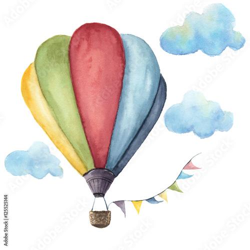 Fotografie, Obraz  Watercolor hot air balloon set