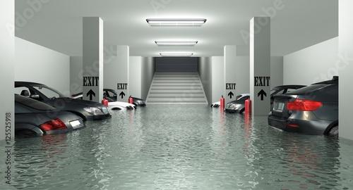 Fotomural Überflutete Tiefgarage