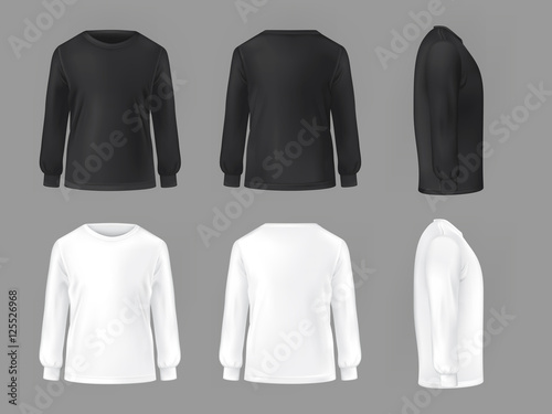 фотография  Vector set template of male T-shirts with long sleeve
