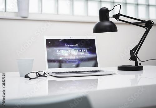 Laptop Computer At An Office Desk Mockup 1