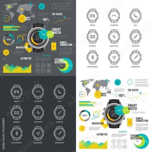 Smart watch infographic illustration Wallpaper Mural
